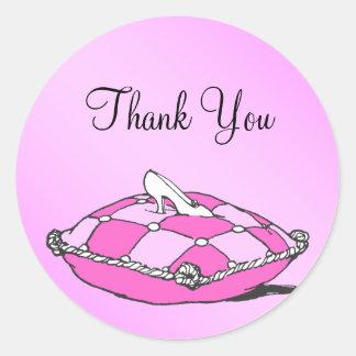 Gracias pegatina del rosa del deslizador de