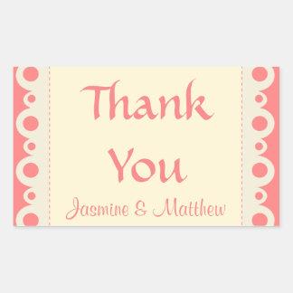 Gracias pegatina personalizado rosado del boda del