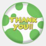 Gracias pegatina verde de los puntos