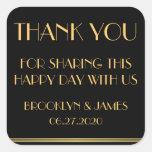 Gracias pegatinas negros del boda de Gatsby del Calcomanías Cuadradass Personalizadas