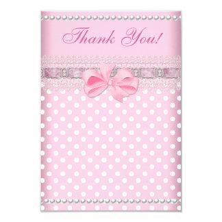 """Gracias perla del punto de rosas bebés del chica invitación 3.5"""" x 5"""""""