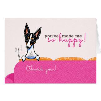 Gracias perseguir rosa tan feliz tarjeta