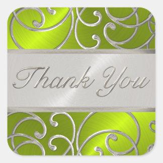 Gracias plata elegante de la verde lima pegatina cuadrada