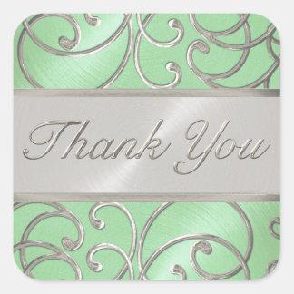 Gracias plata elegante de la verde menta pegatina cuadrada