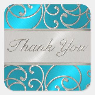 Gracias plata elegante de las azules turquesas pegatina cuadrada