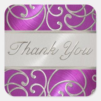 Gracias plata elegante del rosa de la frambuesa pegatina cuadrada