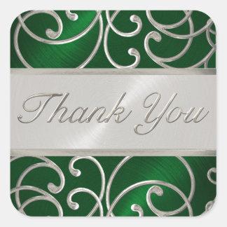 Gracias plata elegante del verde esmeralda pegatina cuadrada