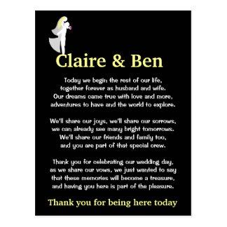 Gracias poema por huéspedes del día de boda tarjeta postal