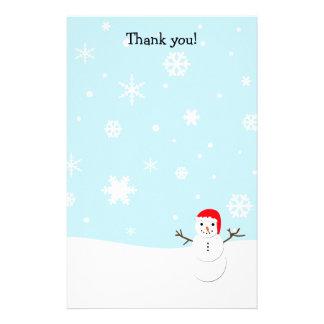 Gracias pone letras al navidad del muñeco de nieve personalized stationery