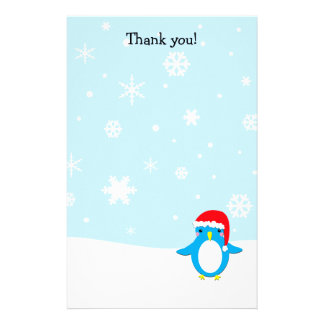 Gracias pone letras al navidad del pingüino personalized stationery