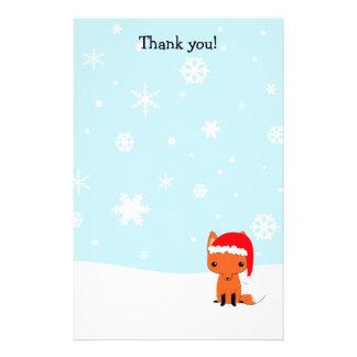 Gracias pone letras al zorro del navidad inmóvil personalized stationery