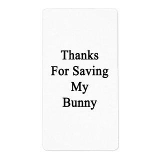 Gracias por ahorrar mi conejito etiqueta de envío