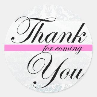 Gracias por blanco rosado que viene pegatina redonda