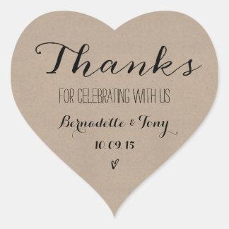 ¡Gracias por celebrar con nosotros! El casarse le Pegatina En Forma De Corazón