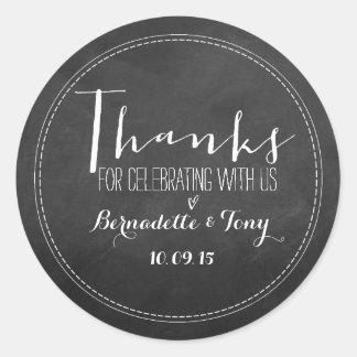 ¡Gracias por celebrar con nosotros! El casarse le Pegatina Redonda