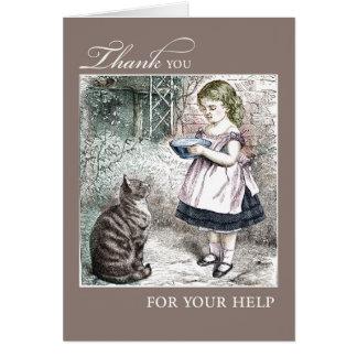 Gracias por chica y gato del vintage de la ayuda tarjeta de felicitación