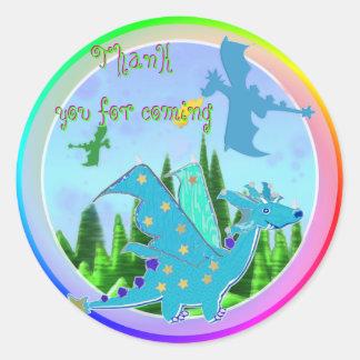 Gracias por colores azules del arco iris del pegatina redonda