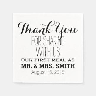 Gracias por compartir con nosotros el primer boda servilletas de papel