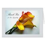 Gracias por condolencia, calas tarjeta de felicitación
