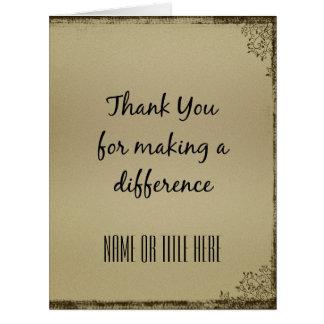 Gracias por diferenciar tarjeta de felicitación grande