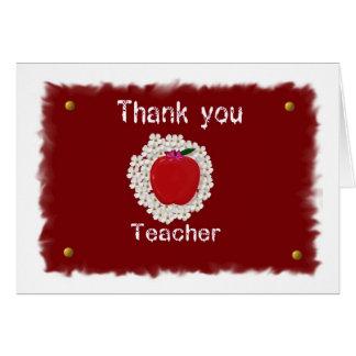 Gracias por el profesor, manzana tarjeta de felicitación