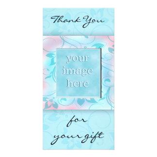 Gracias por el regalo - azul tarjeta con foto personalizada