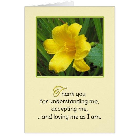Gracias por entenderme… tarjeta de felicitación
