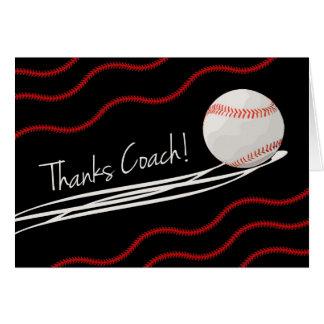 Gracias por entrenador de béisbol, bola rápida y tarjeta de felicitación