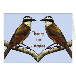 Gracias por escuchar Pájaros cara a cara Tarjetón