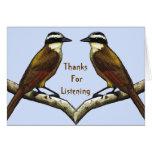 Gracias por escuchar: Pájaros cara a cara Tarjetón