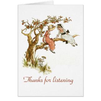 Gracias por escuchar tarjeta de felicitación