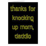 ¡Gracias por golpear encima de la mamá, daddio! Felicitacion