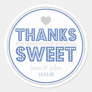 Gracias por hacer nuestro dulce del boda (azul/pla etiquetas redondas