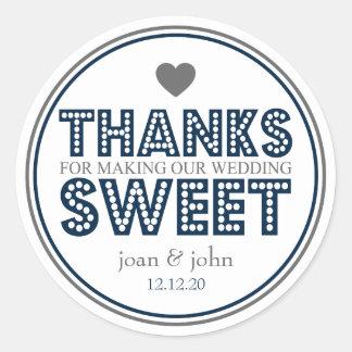 Gracias por hacer nuestro dulce del boda (marina pegatinas redondas