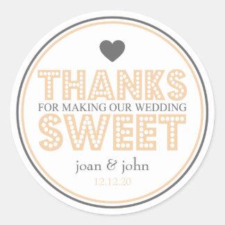Gracias por hacer nuestro dulce del boda etiquetas redondas
