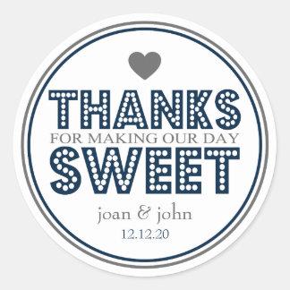 Gracias por hacer nuestro dulce del día azul mari etiqueta