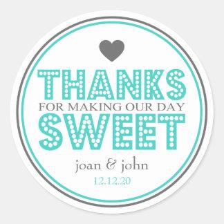 Gracias por hacer nuestro dulce del día etiqueta redonda