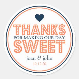 Gracias por hacer nuestro dulce del día pegatinas redondas