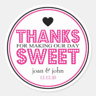 Gracias por hacer nuestro dulce del día (rosa etiquetas redondas