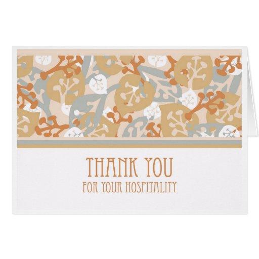 Gracias por hospitalidad, tarjeta del estilo del a