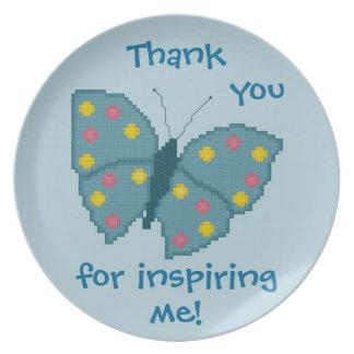 ¡Gracias por inspirarme! Placa de mariposa Plato De Cena