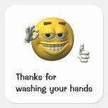 Gracias por lavarse las manos colcomanias cuadradas