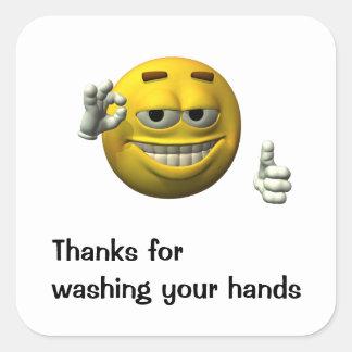 Gracias por lavarse las manos pegatina cuadrada