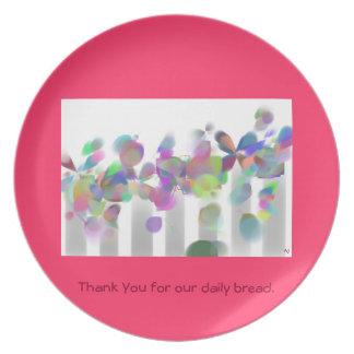 Gracias por nuestra placa diaria del pan platos para fiestas