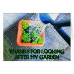 Gracias por ocuparse mi jardín tarjetón