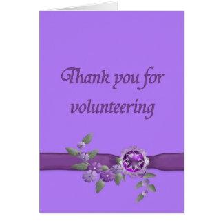 Gracias por ofrecerse voluntariamente, púrpura tarjeta pequeña