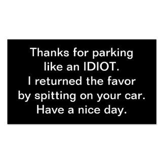 Gracias por parquear como un idiota plantilla de tarjeta de visita