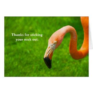 Gracias por pegar su flamenco del cuello hacia tarjeta de felicitación