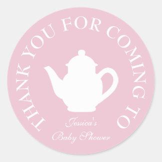 Gracias por pegatinas de la fiesta del té de la pegatina redonda