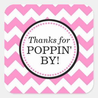 Gracias por Poppin del pegatina cuadrado - Chevron
